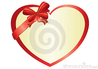 Red vector heart with bow-knot