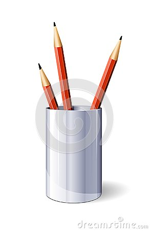 Red Vector Pencils In Glass
