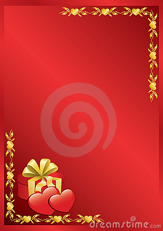 Red vector romantic frame with golden decor