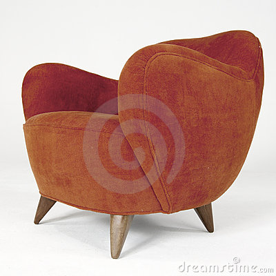Red Velour Modern Arm Chair Editorial Stock Photo