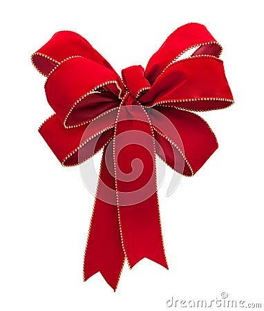 Red Velvet Bow isolated on white