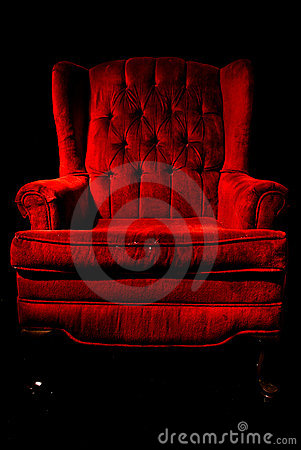 Red velvet chair