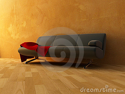 Red velvet cloth on sofa