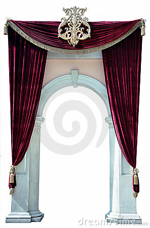 Red Velvet Curtains and Arch cutout
