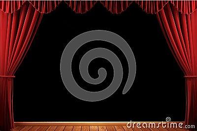 Red velvet theater curtains