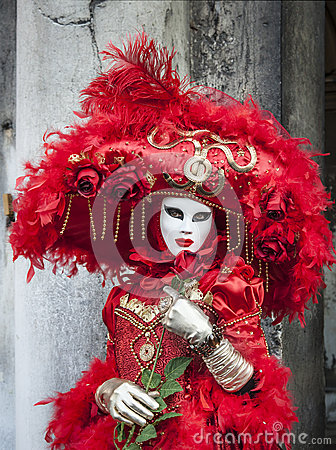 Red Venetian Disguise Editorial Stock Photo
