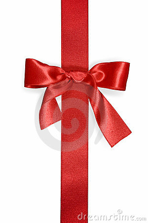 Red vertical ribbon with bow