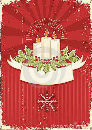 Red vintage Christmas card for text