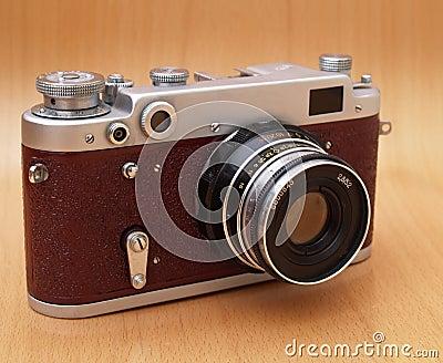 Red vintage film camera