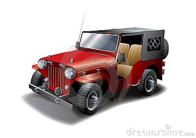 Red Vintage Jeep illustration