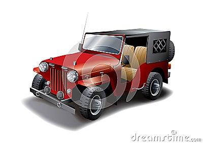 Red Vintage Jeep illustration