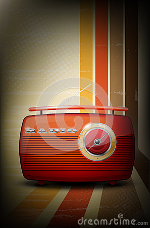 Free Red Vintage Radio On Retro Stripe Background Royalty Free Stock Photography - 28090817