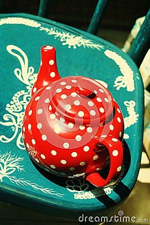 Red vintage teapot