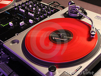 Red Vinyl Record DJ Background
