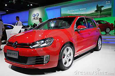 Red Volkswagen golf gti Editorial Image