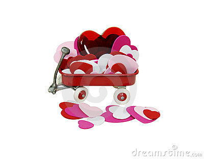 Red wagon full of hearts