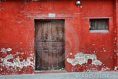 Red Wall and Old Door
