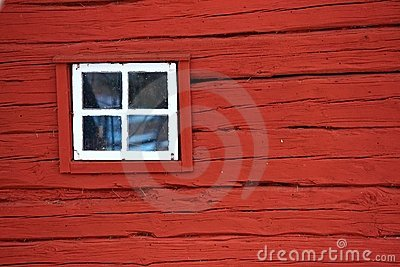 Red wall with window