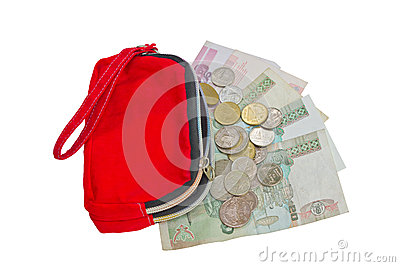Red Wallet With Coins And Banknote.