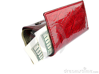 Red wallet with one hundred dollars isolated on a white backgrou