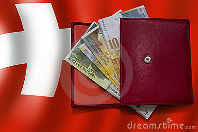 Red wallet swiss franc flag