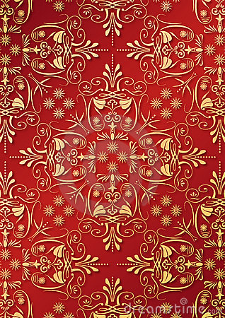 Free Red Wallpaper With Golden Relief Royalty Free Stock Photography - 14174477