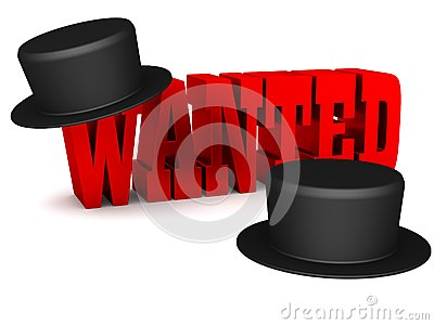 Red Wanted 3D lettering with black hats