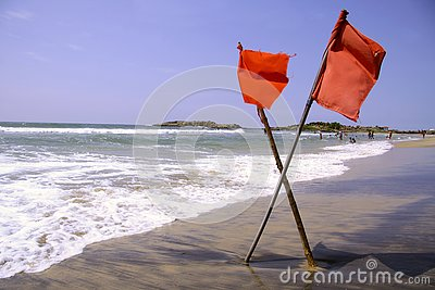 Red warning flags at beach
