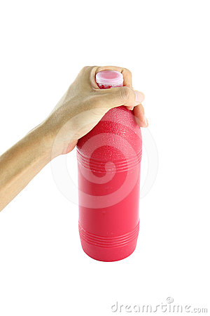 Red water head bottle in palm hand