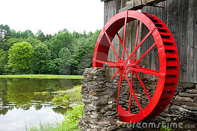 Red Water Wheel Mill Building and Pond Vermont