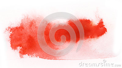 Red watercolor paint brush stroke