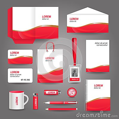 Free Red Wavy Abstract Business Stationery Template Stock Images - 37125434