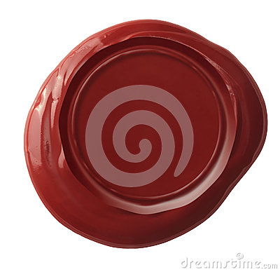 Red wax seal isolated with clipping path