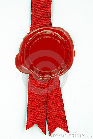 Free Red Wax Seal Red Ribbon Stock Photo - 14153300