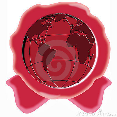 Free Red Wax Seal With Globe Royalty Free Stock Photography - 5282627