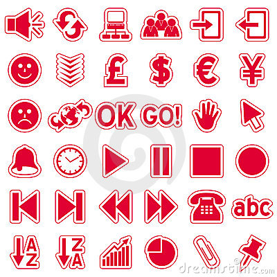 Red Web Stickers Icons [3]