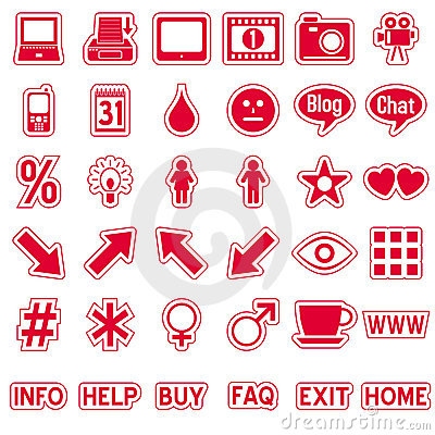 Red Web Stickers Icons [4]