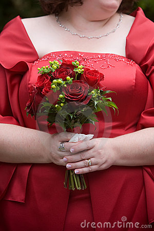 Red wedding bouquet flower arrangement