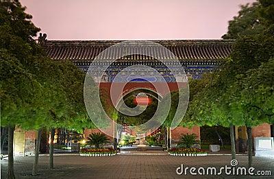 Red West Heaven Gate Lanterns Temple Sun Beijing