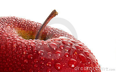 Red wet apple.