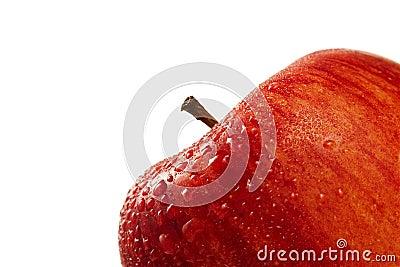 Red wet apple closeup