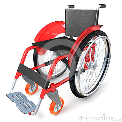 Red wheelchair on white background