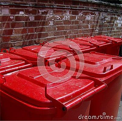 Red wheelie bin lids