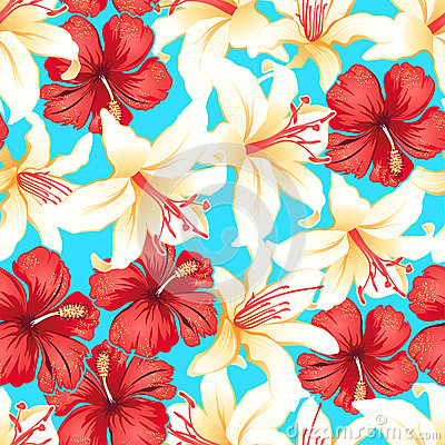 Free Red, White And Yellow Tropical Hibiscus Flowers Seamless Pattern Royalty Free Stock Photo - 42870965