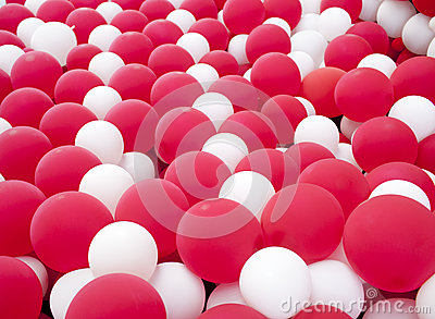 Red and white balloon wall