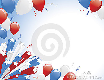 Red White Blue Balloons and Star Burst