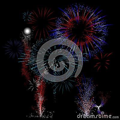Red, white, blue firework background