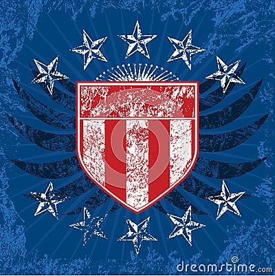 Free Red White & Blue Grunge Shield Royalty Free Stock Photos - 3357988