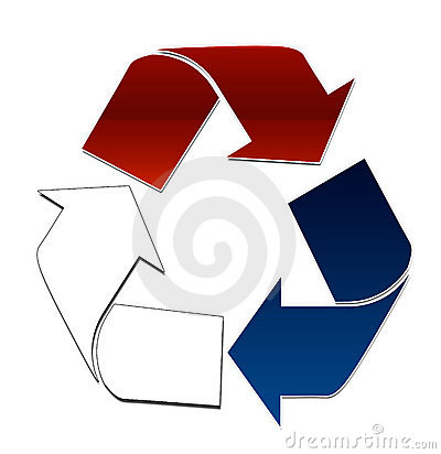 Red white and blue recycle