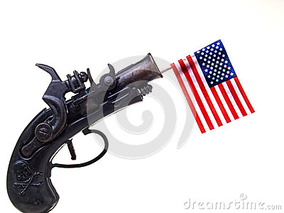 Red White & Blue Ribbon & Gun